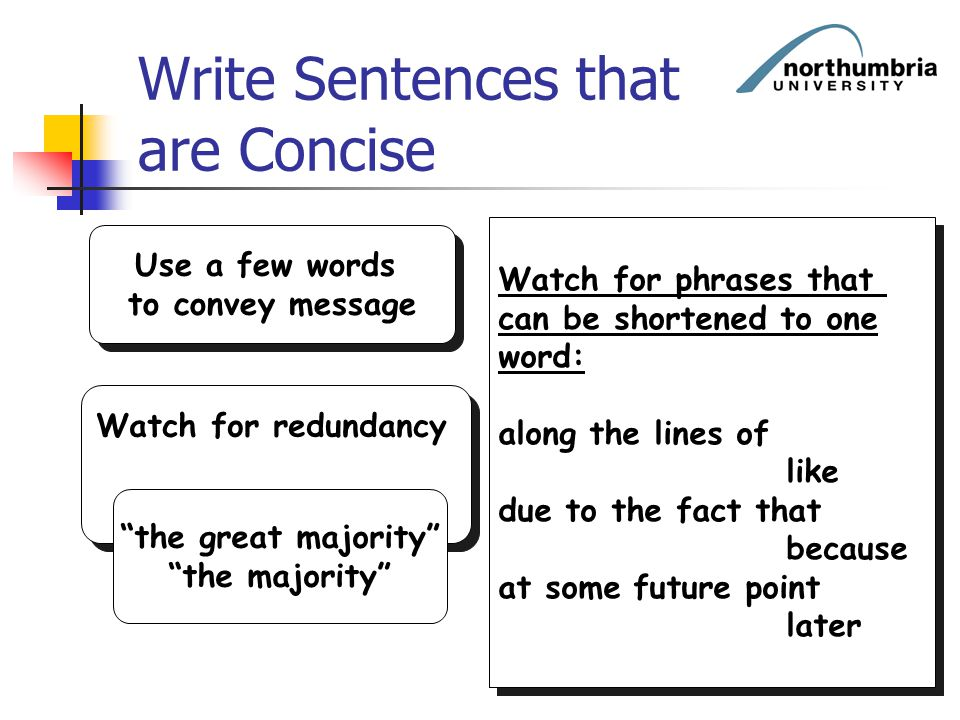 Write Sentences that are Concise