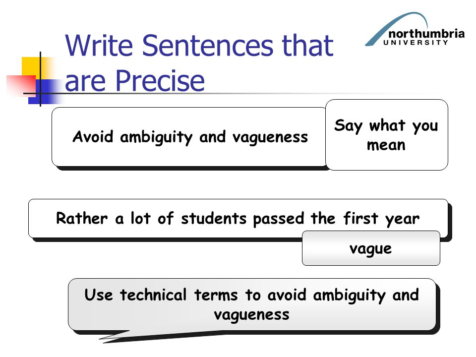 Write Sentences that are Precise