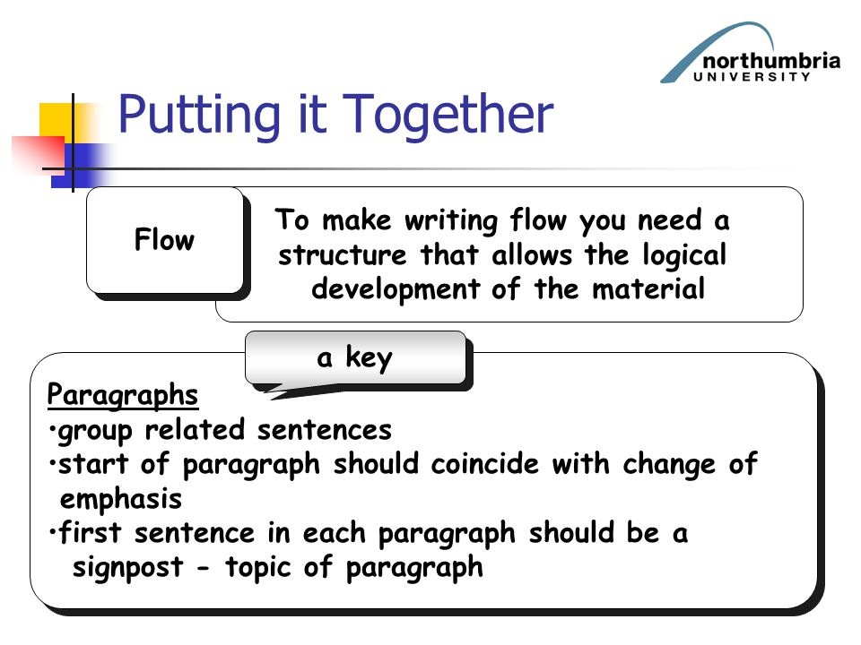 Putting it Together To make writing flow you need a Flow