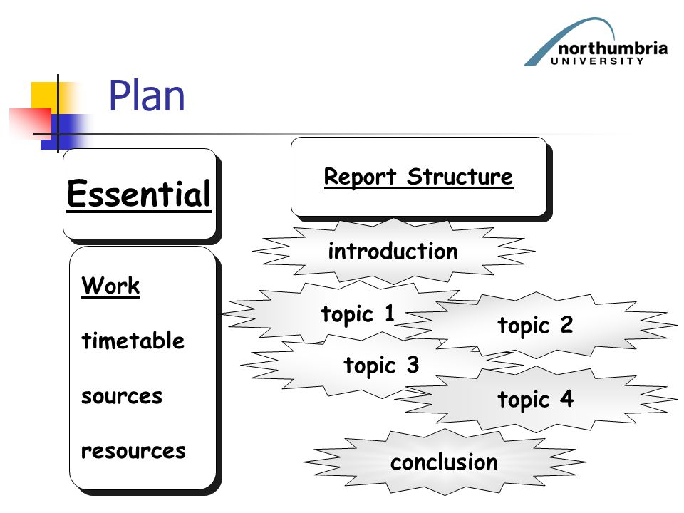 Plan Essential Report Structure introduction Work timetable topic 1