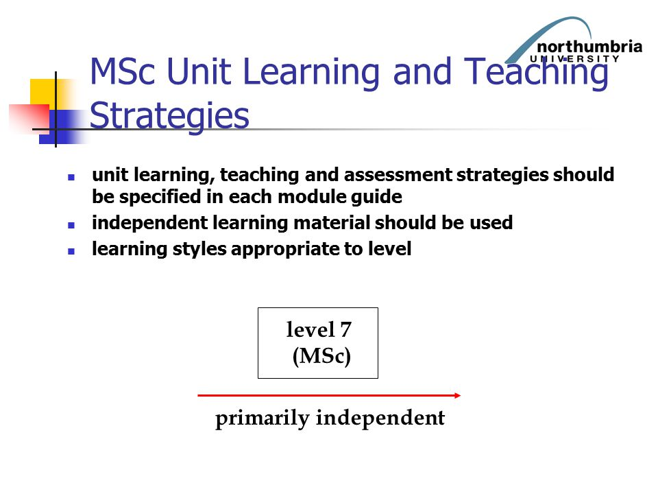 MSc Unit Learning and Teaching Strategies