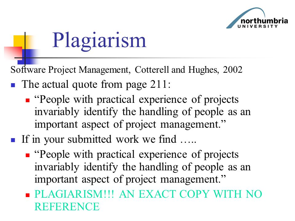 Plagiarism The actual quote from page 211: