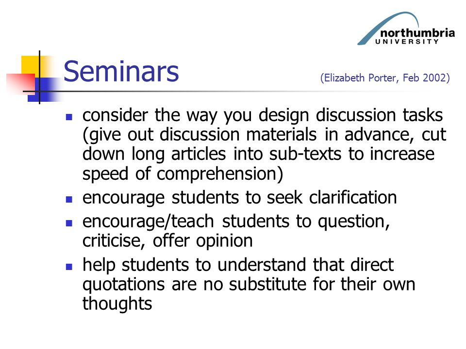 Seminars (Elizabeth Porter, Feb 2002)