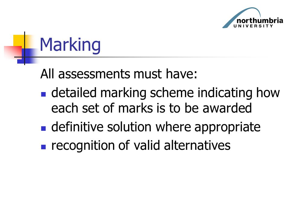 Marking All assessments must have: