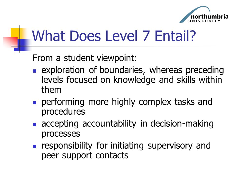 What Does Level 7 Entail From a student viewpoint: