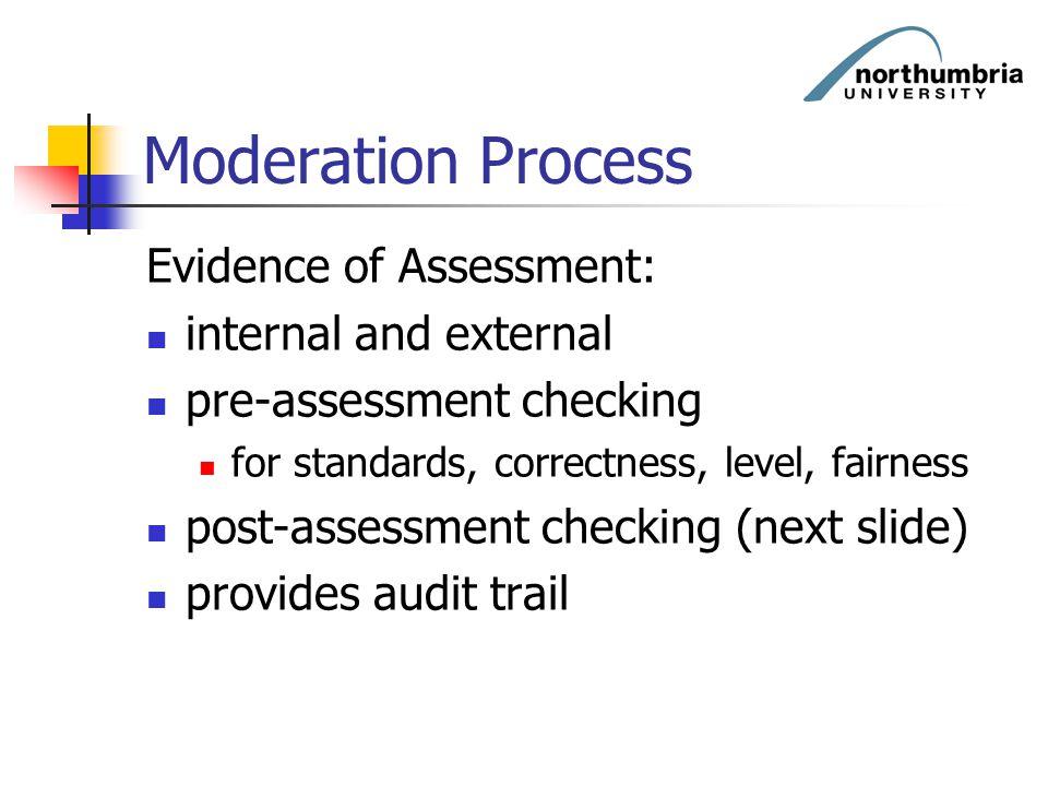 Moderation Process Evidence of Assessment: internal and external