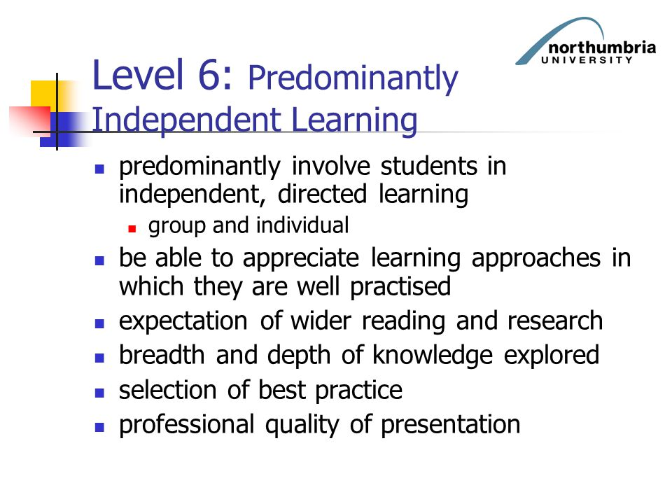 Level 6: Predominantly Independent Learning