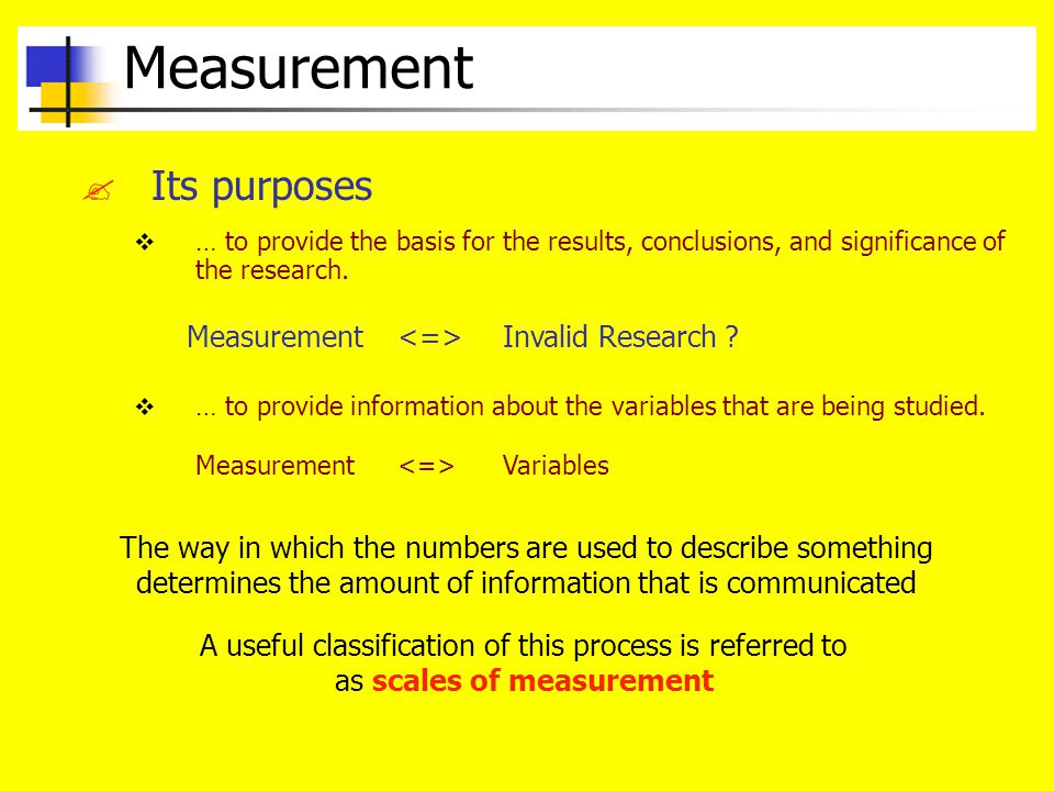Measurement Its purposes Measurement <=> Invalid Research