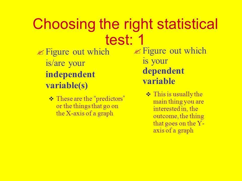 Choosing the right statistical test: 1