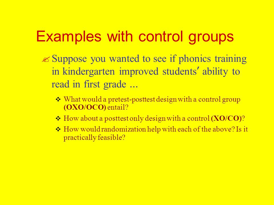Examples with control groups
