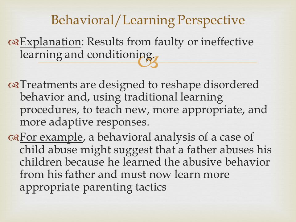 Behavioral/Learning Perspective