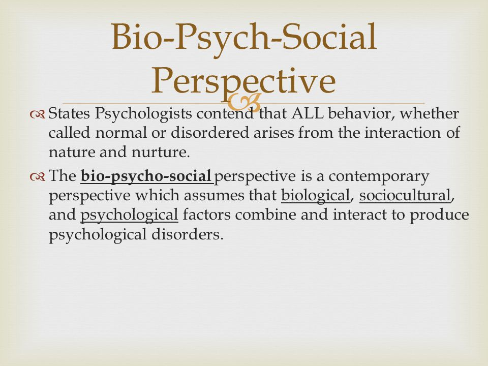 Bio-Psych-Social Perspective