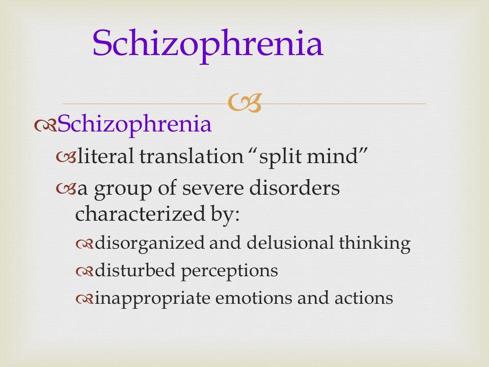 Schizophrenia Schizophrenia literal translation split mind