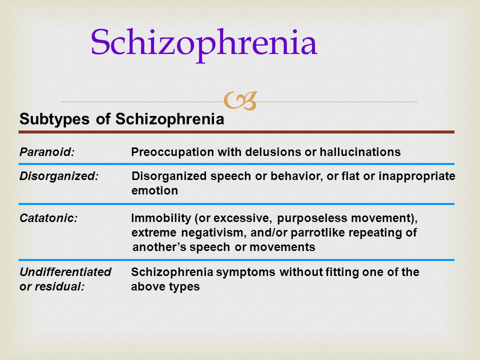 Schizophrenia Subtypes of Schizophrenia