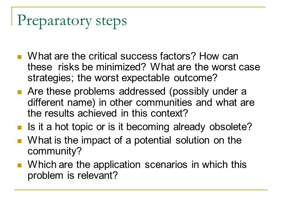 Preparatory steps