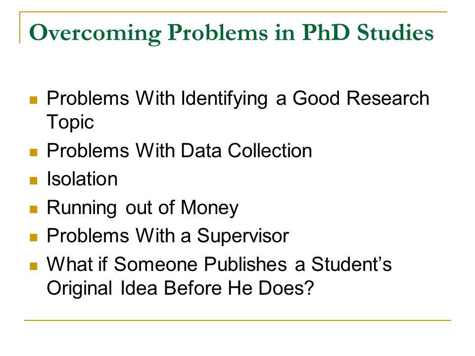 Overcoming Problems in PhD Studies