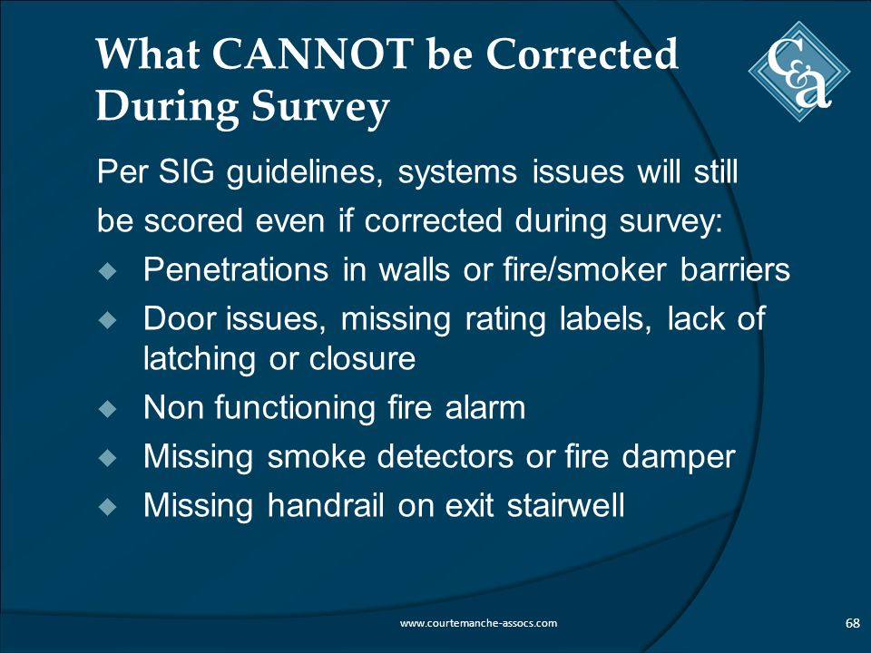 What CANNOT be Corrected During Survey