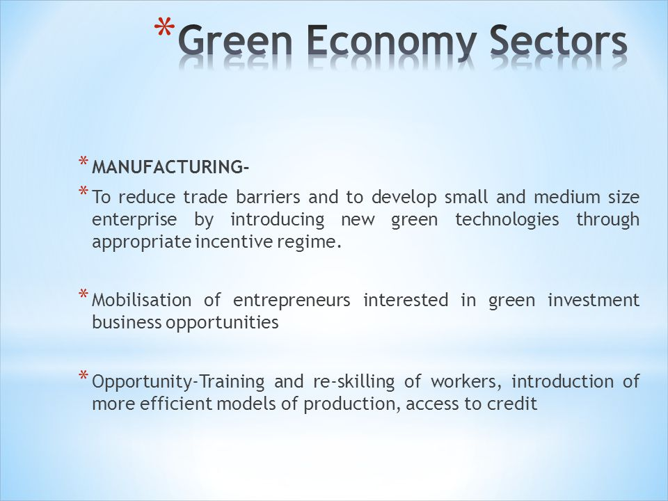 Green Economy Sectors MANUFACTURING-