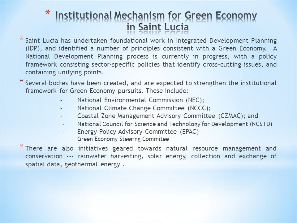 Institutional Mechanism for Green Economy in Saint Lucia