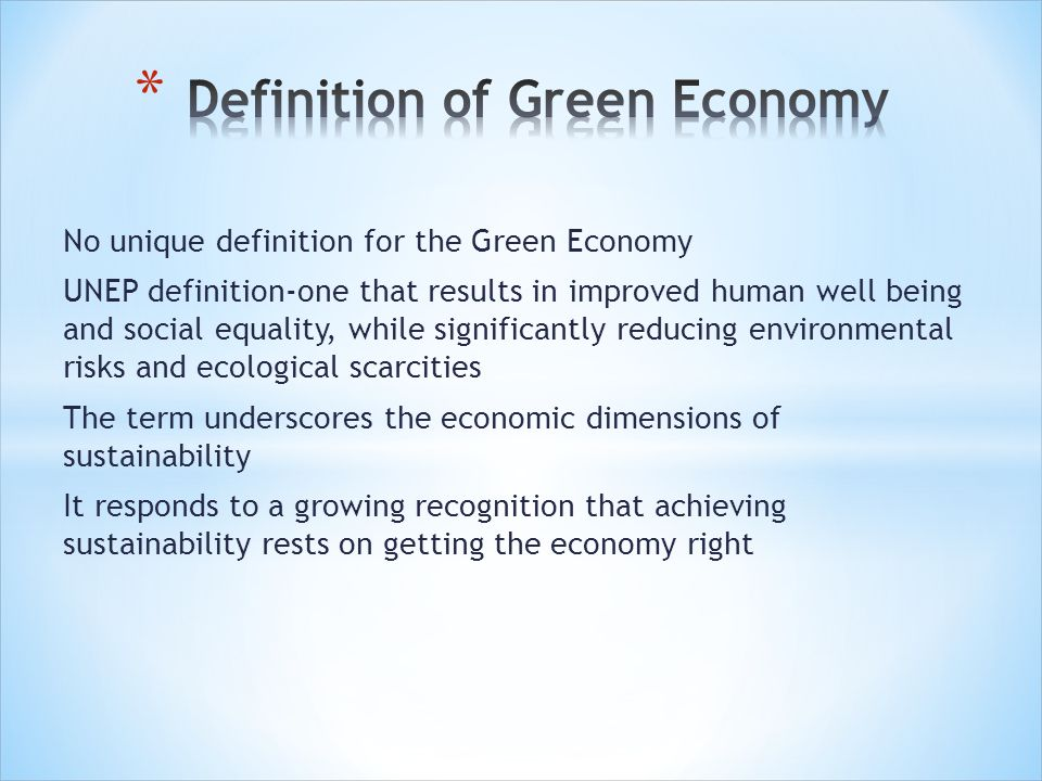 Definition of Green Economy
