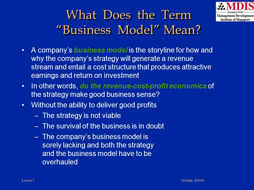 What Does the Term Business Model Mean