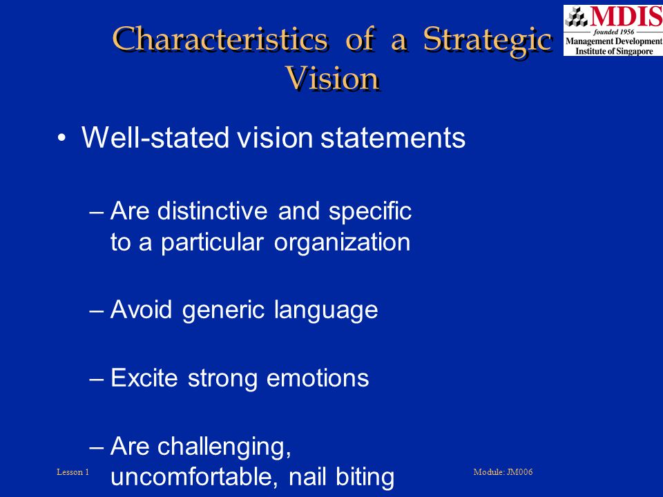 Characteristics of a Strategic Vision