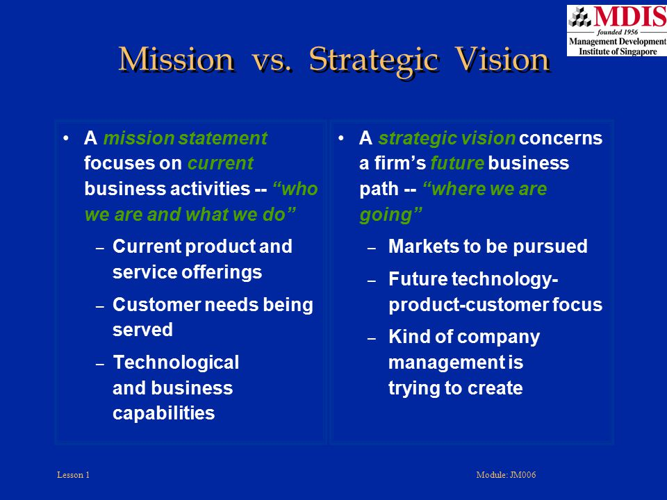 Mission vs. Strategic Vision