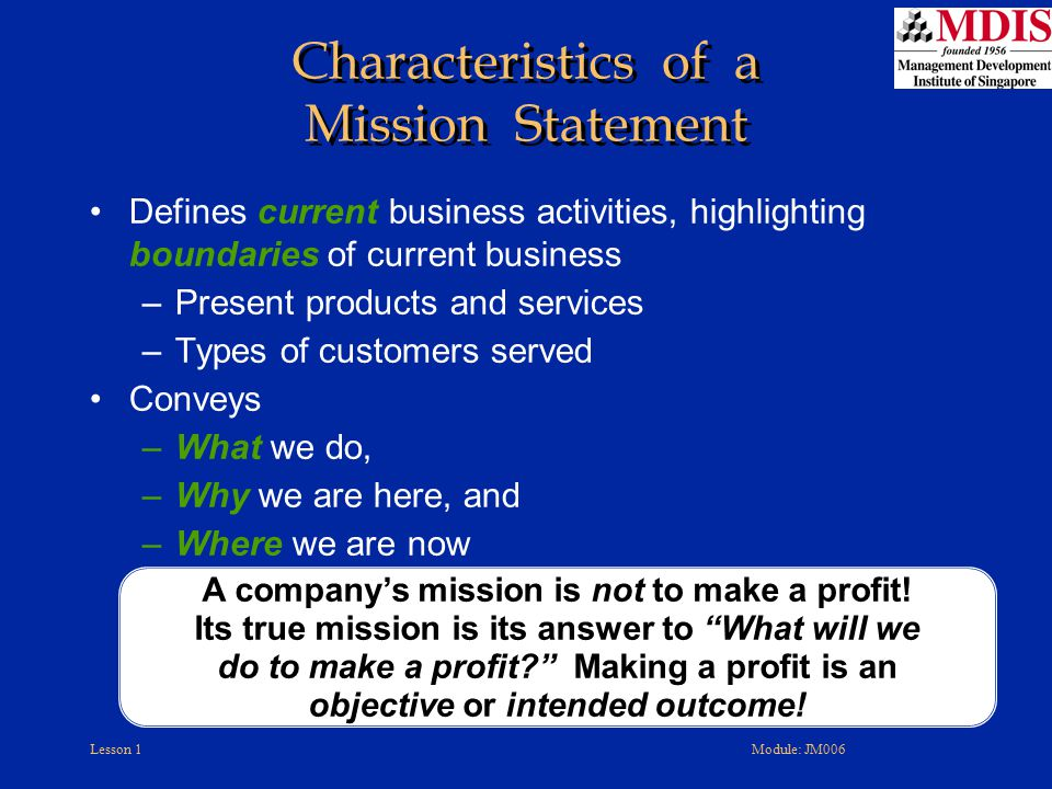 Characteristics of a Mission Statement
