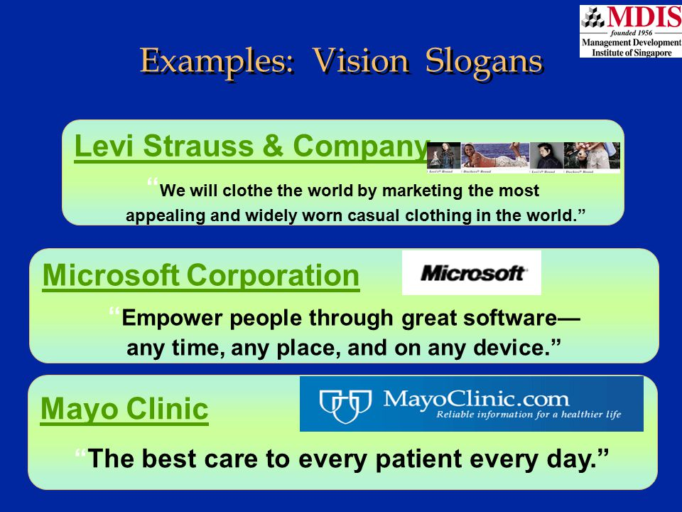 Examples: Vision Slogans