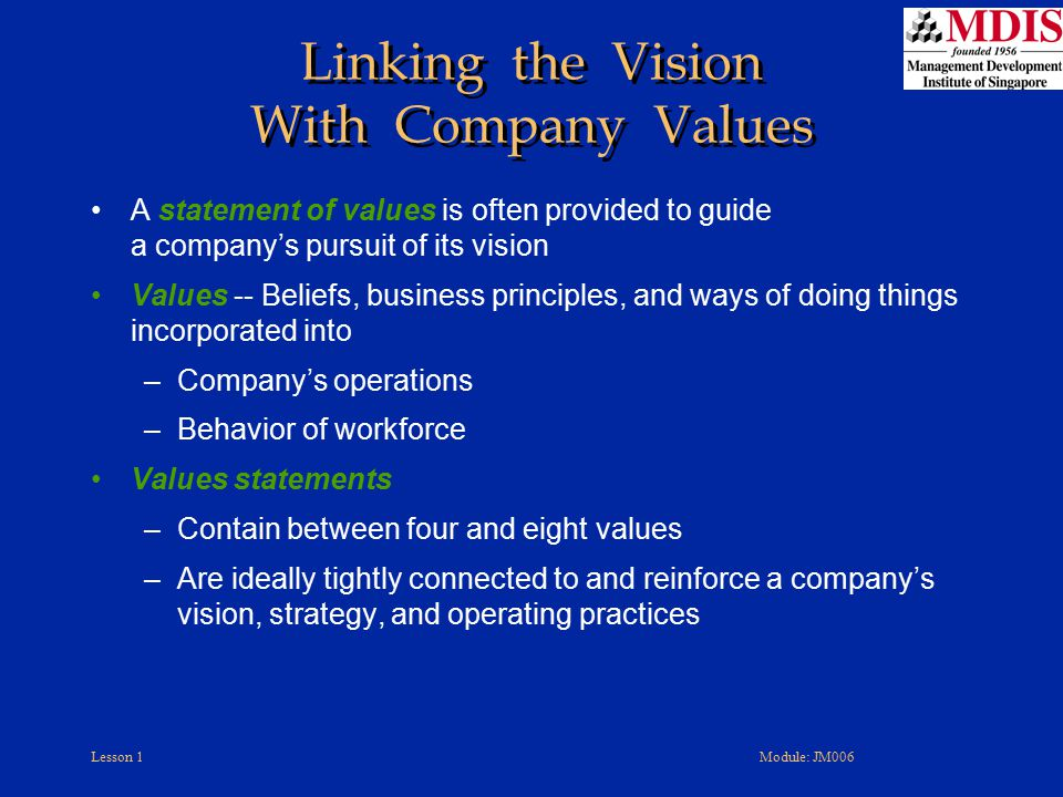 Linking the Vision With Company Values