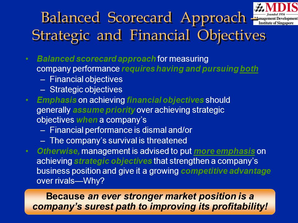 Balanced Scorecard Approach – Strategic and Financial Objectives
