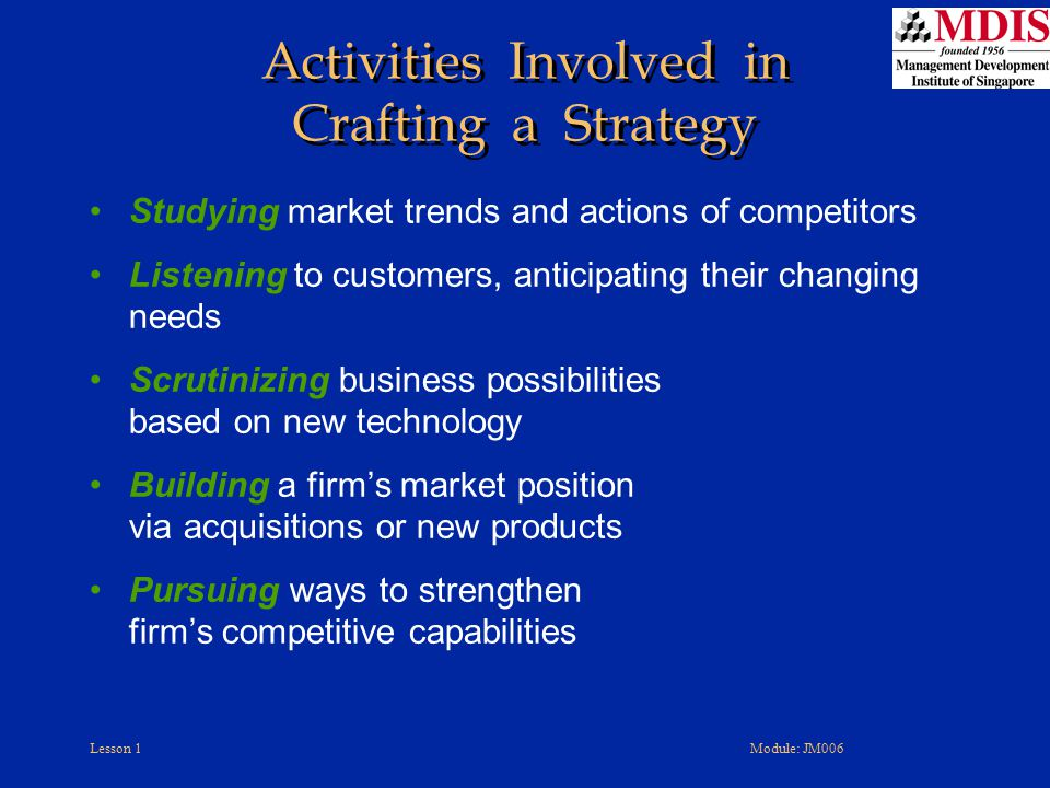Activities Involved in Crafting a Strategy