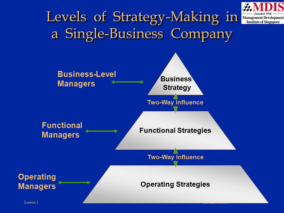 Levels of Strategy-Making in a Single-Business Company