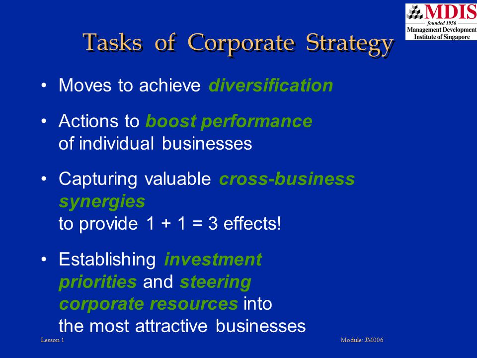 Tasks of Corporate Strategy