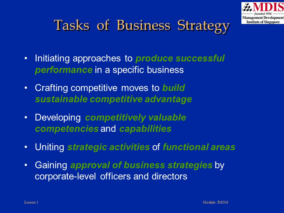 Tasks of Business Strategy