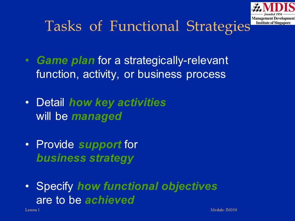 Tasks of Functional Strategies