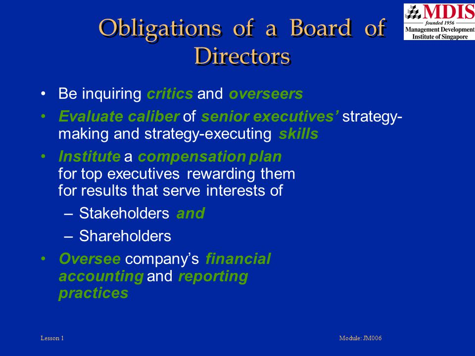 Obligations of a Board of Directors