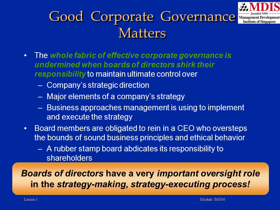 Good Corporate Governance Matters