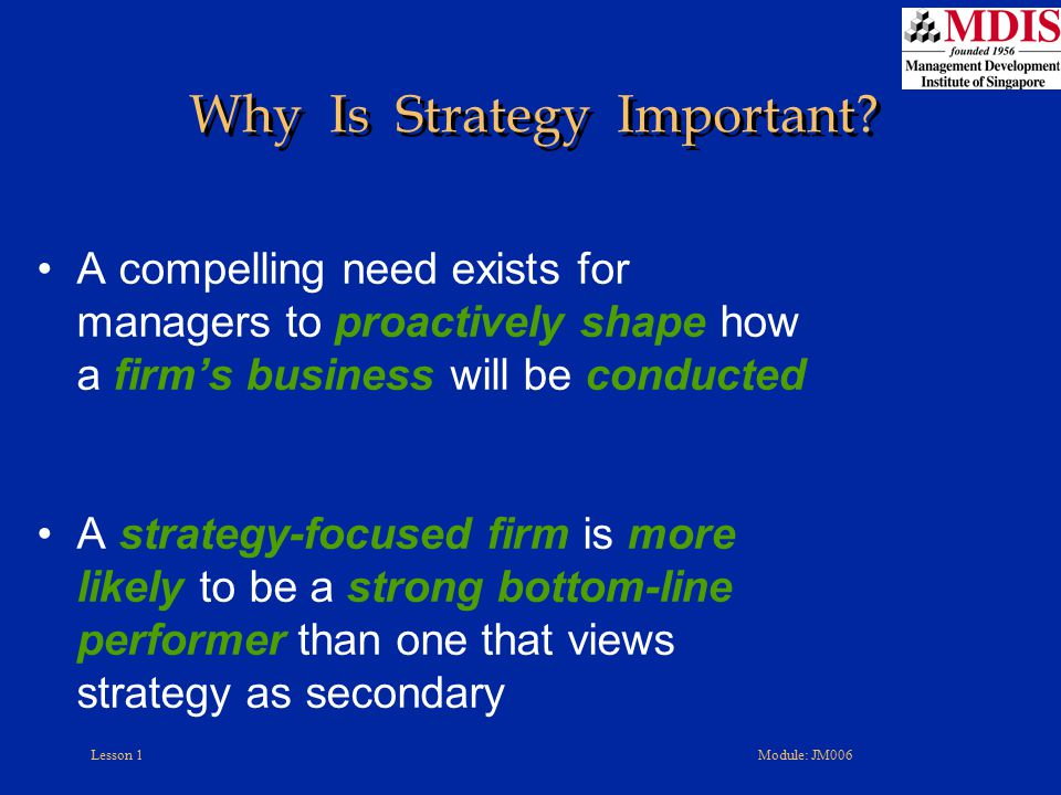 Why Is Strategy Important
