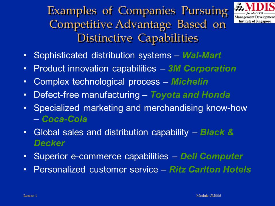 Examples of Companies Pursuing Competitive Advantage Based on Distinctive Capabilities