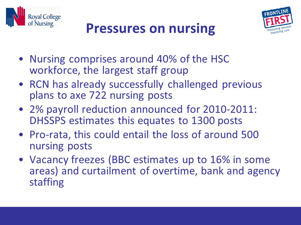 Pressures on nursing Nursing comprises around 40% of the HSC workforce, the largest staff group.