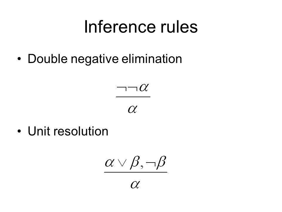 Inference rules Double negative elimination Unit resolution