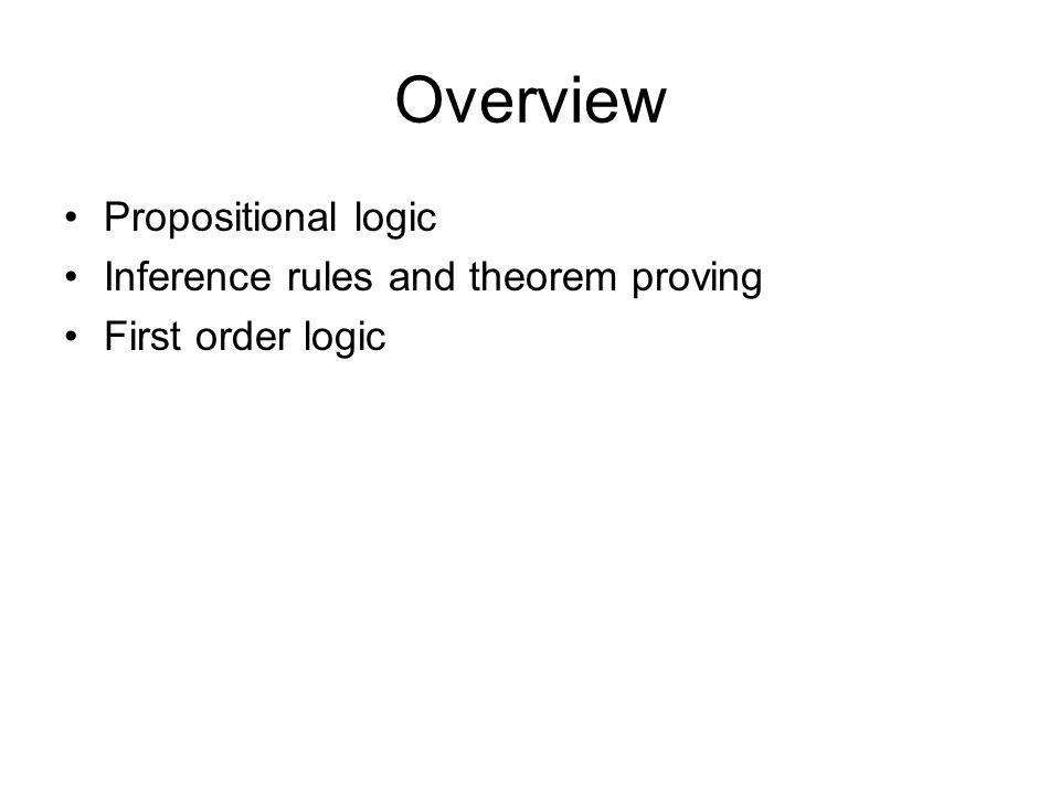 Overview Propositional logic Inference rules and theorem proving