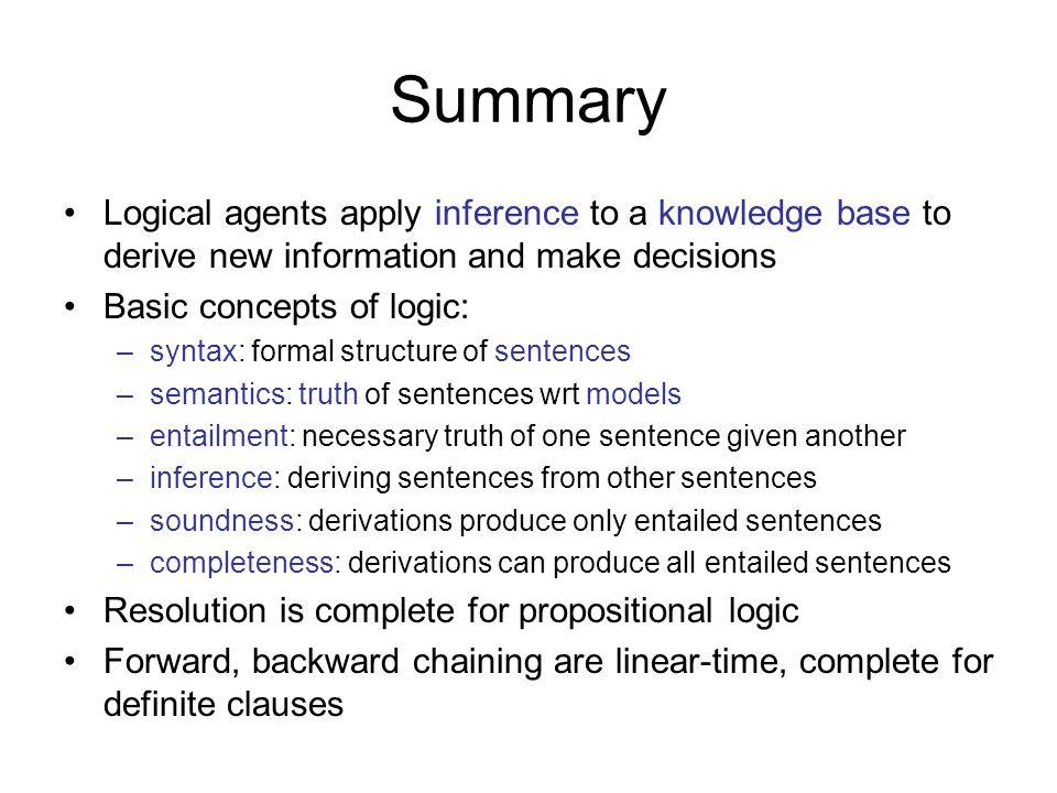 Summary Basic concepts of logic: