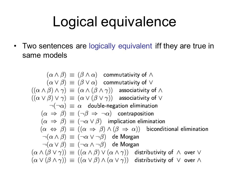 Logical equivalence Two sentences are logically equivalent iff they are true in same models