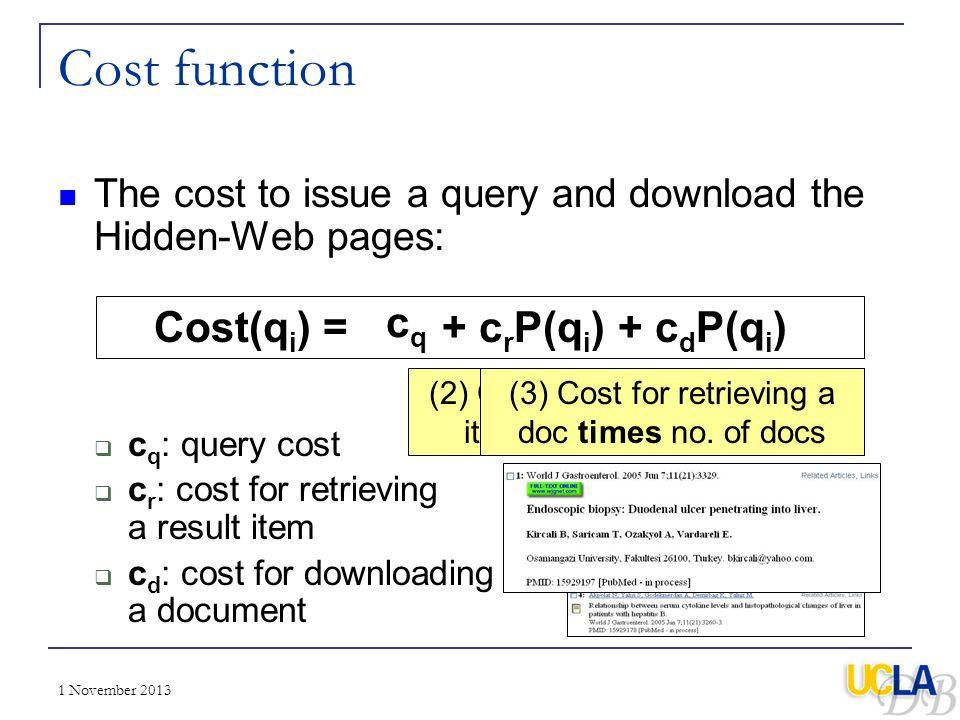 Cost function Cost(qi) = cq + crP(qi) + cdP(qi)