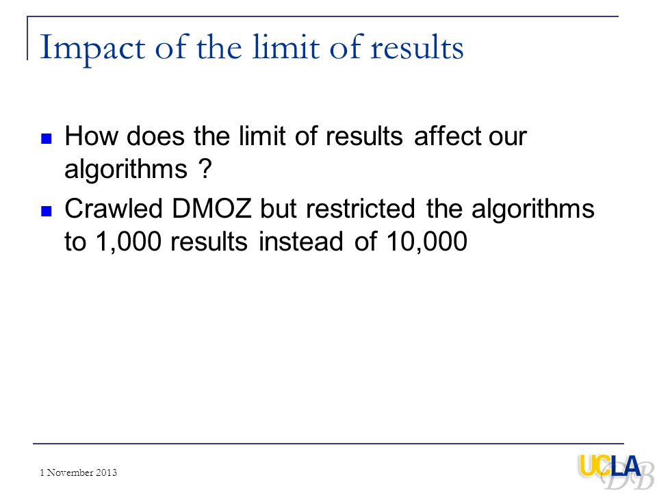 Impact of the limit of results