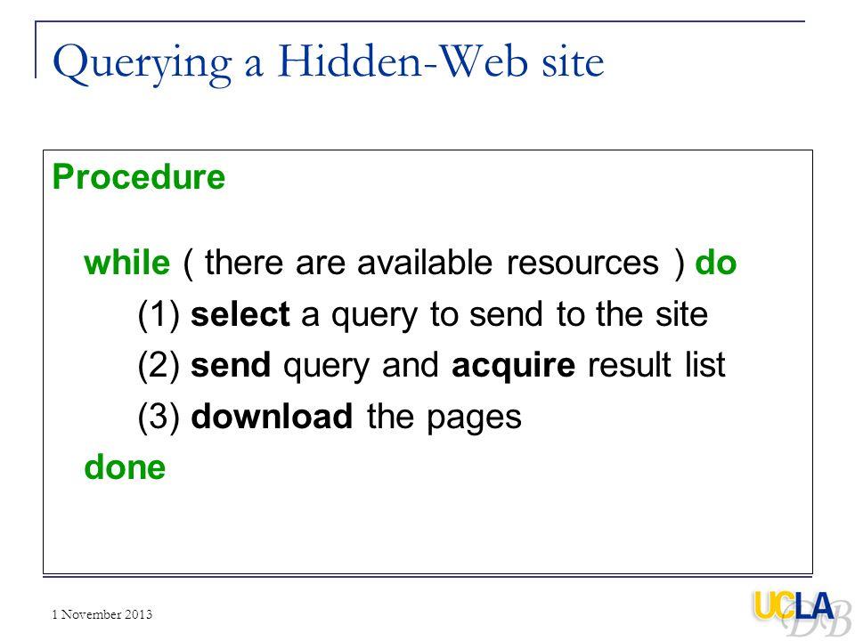 Querying a Hidden-Web site
