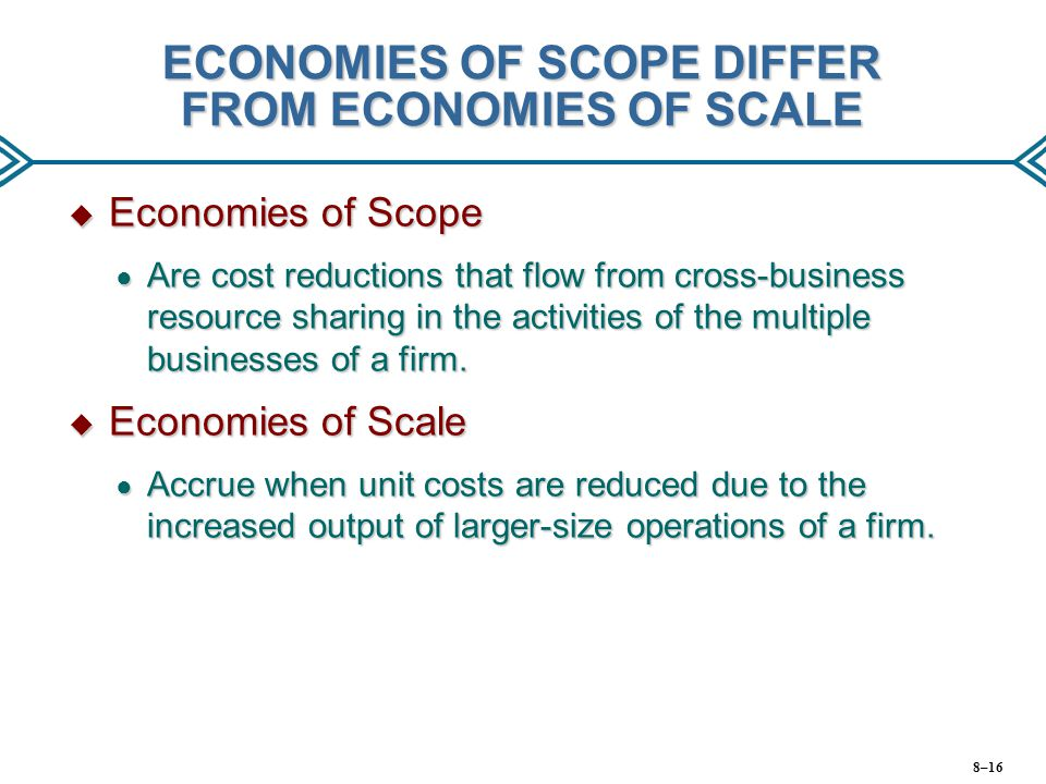 ECONOMIES OF SCOPE DIFFER FROM ECONOMIES OF SCALE
