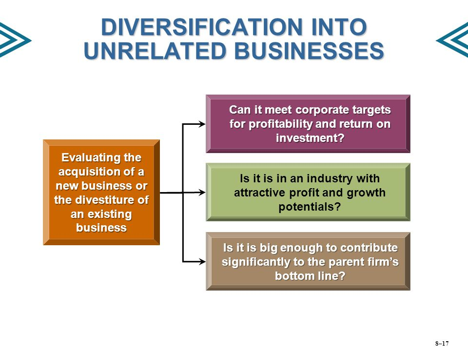 DIVERSIFICATION INTO UNRELATED BUSINESSES